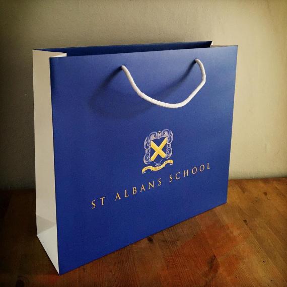 blue printed bag