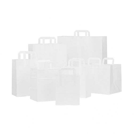 White Kraft Folded Handle Paper Bags