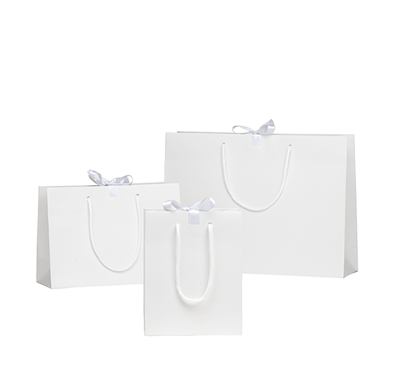 White Matt Laminated Ribbon Gift Bags