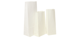 White Block Bottom Kraft Bags
