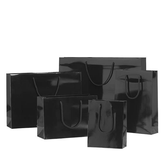 Black Gloss Laminated Rope Handle Paper Bags