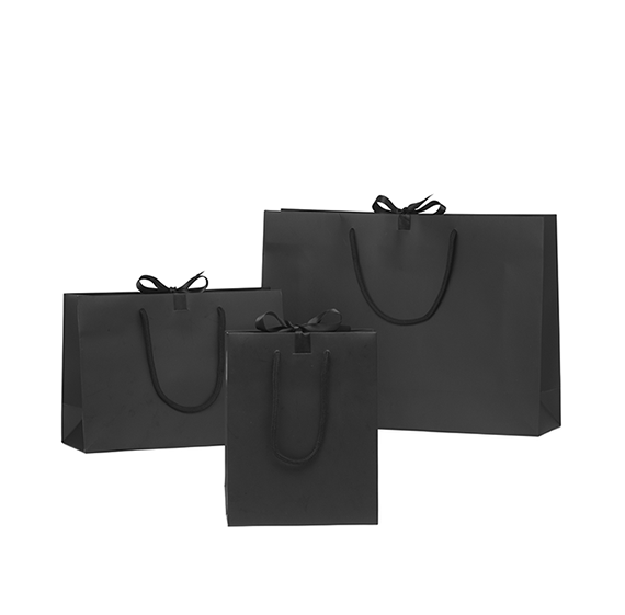 Black Matt Laminated Ribbon Gift Bags