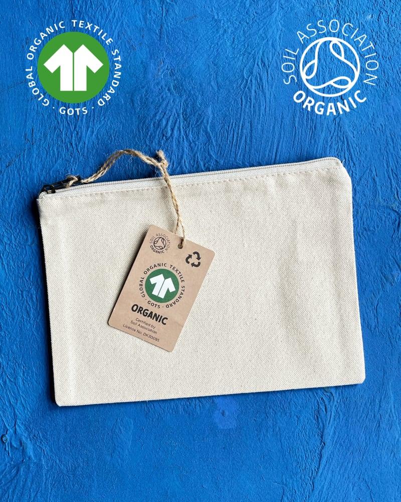 GOTS Organic Natural Canvas Zip Pouches